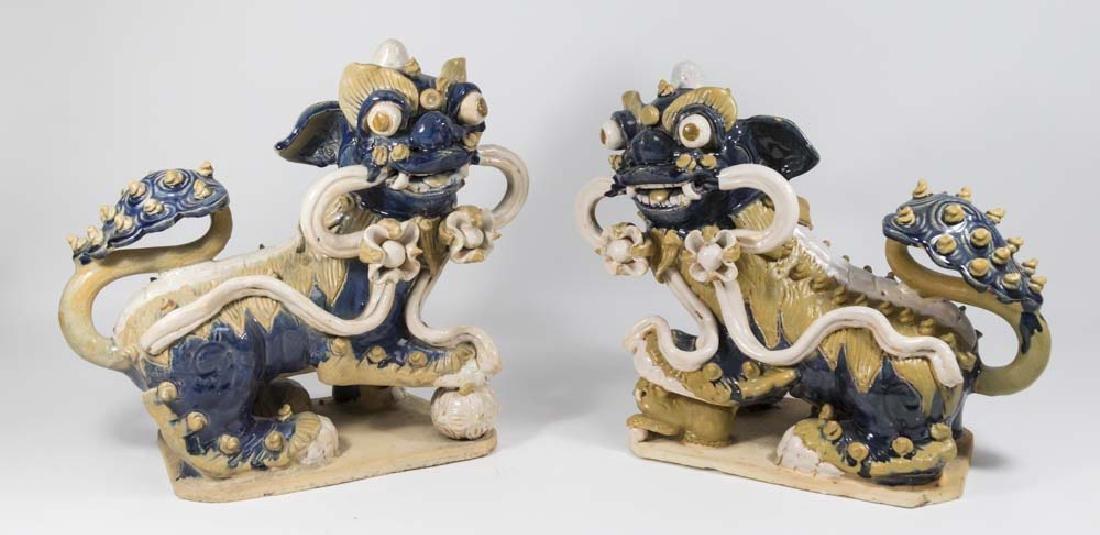 Pair Chinese Ceramic Foo Dogs