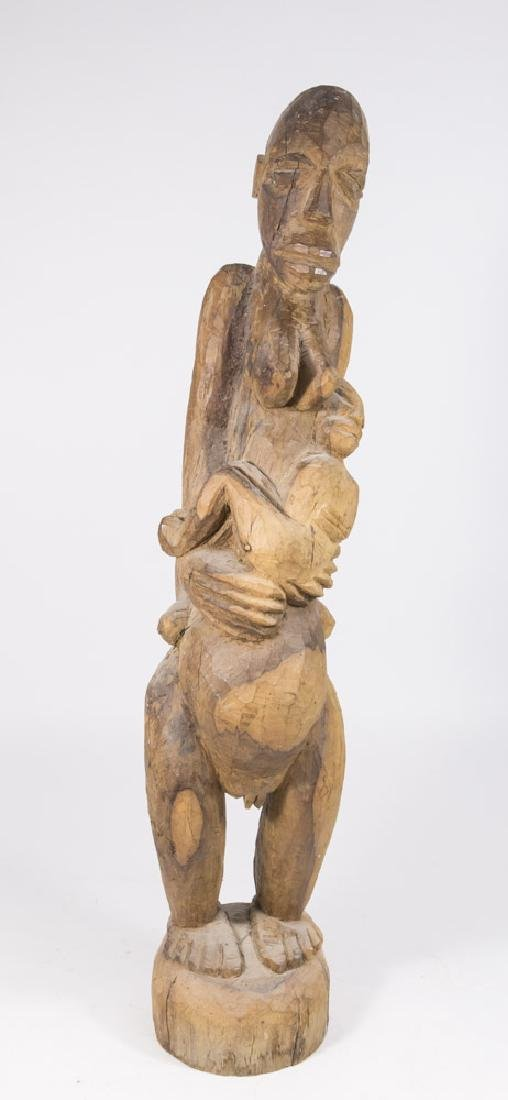 African or Haitian Wood Carving, Mother & Child