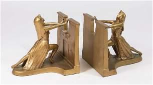 Pair LV Aronson Metal Figural Art Deco Bookends