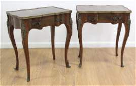 Pair Bronze Mounted Banded French Lamp Tables
