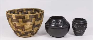 2 American Indian Pottery Bowls & Basket
