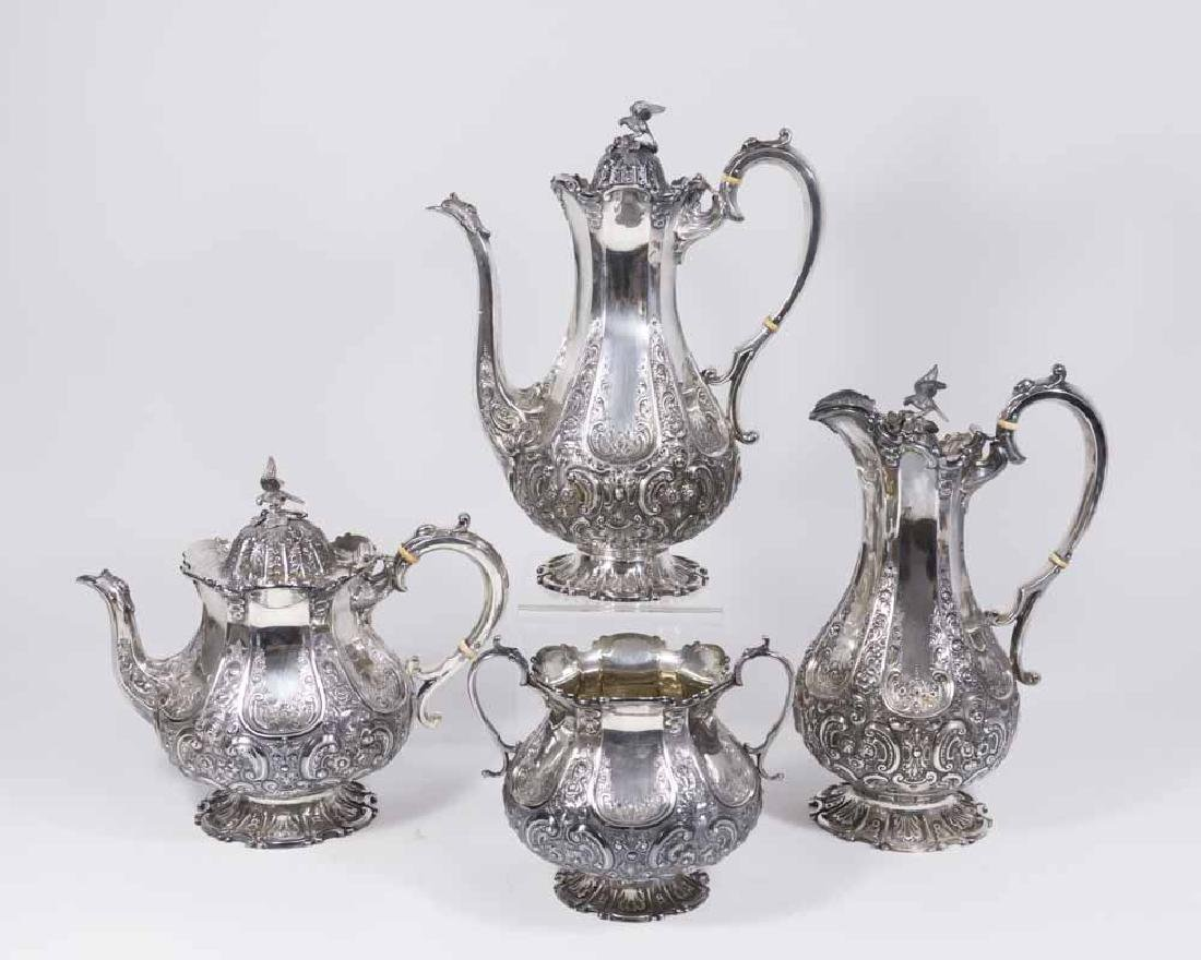19th C English Sterling Silver 4pcs Tea Set