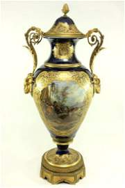 19th Century S�vres Cobalt Covered Urn Vase