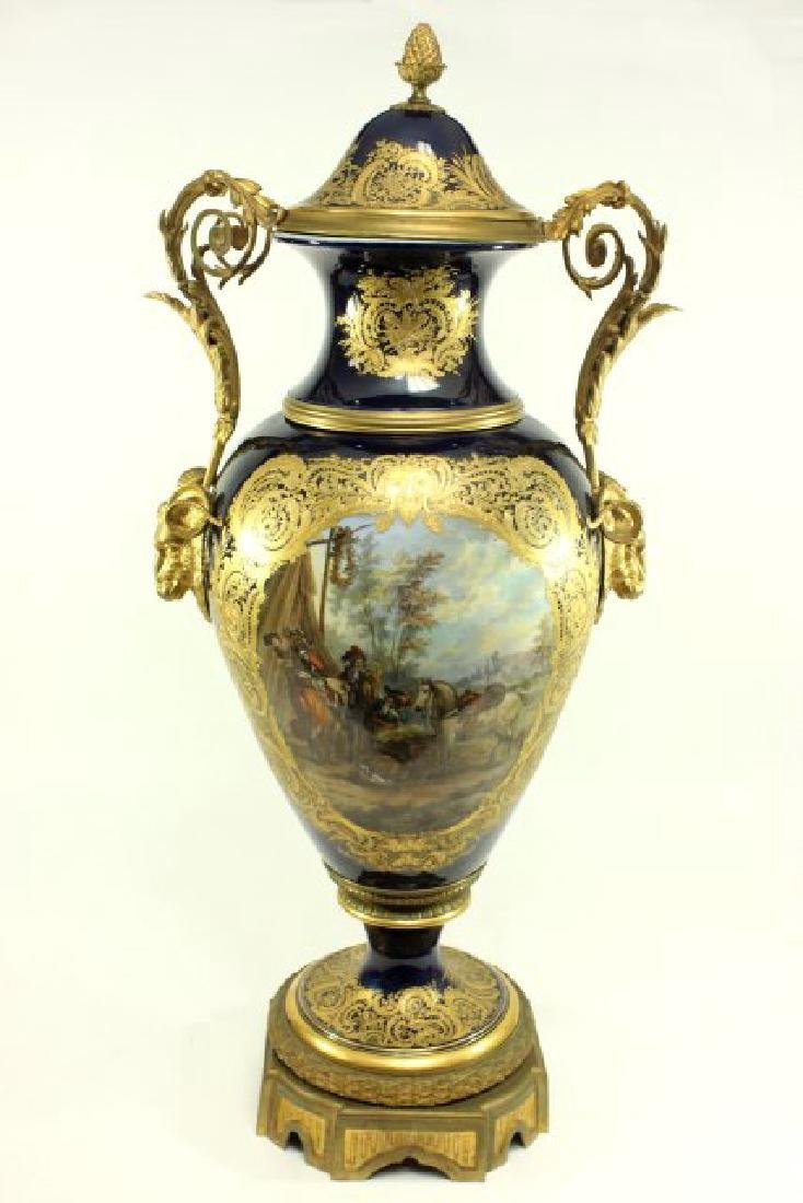 19th Century Sèvres Cobalt Covered Urn Vase