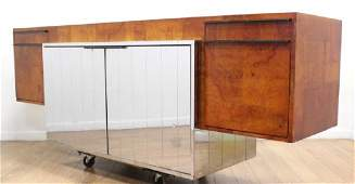 Paul Evans 1974 Burled Walnut  Chrome Credenza