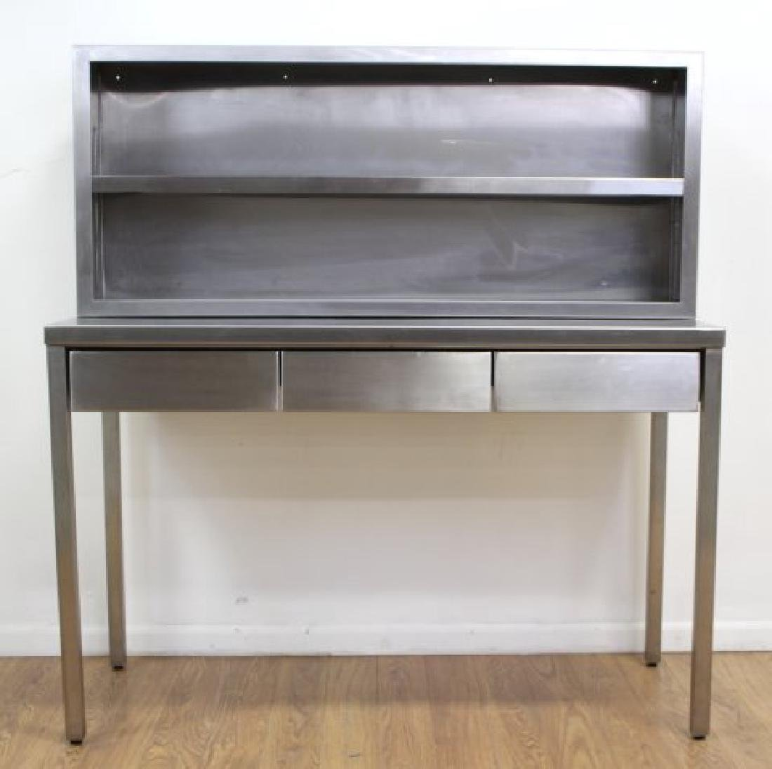 Industrial Brushed Steel Table & Cabinet