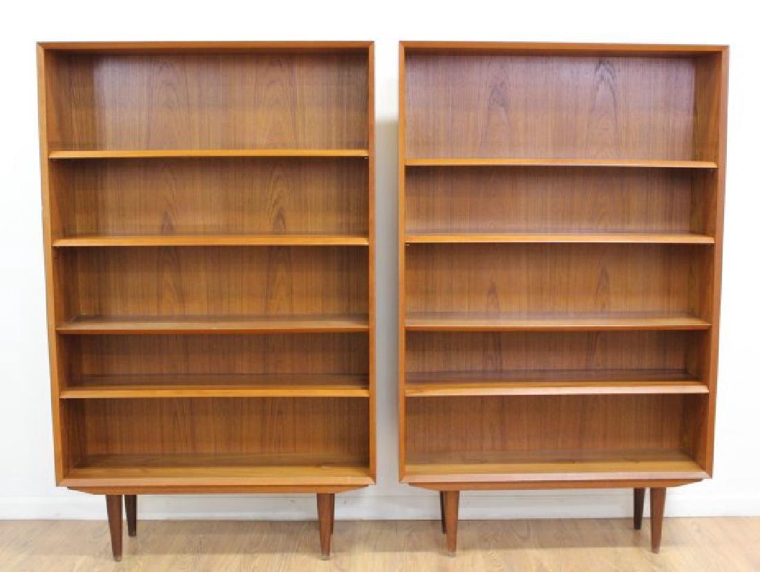 Pair Danish Modern Teak Open Bookcases