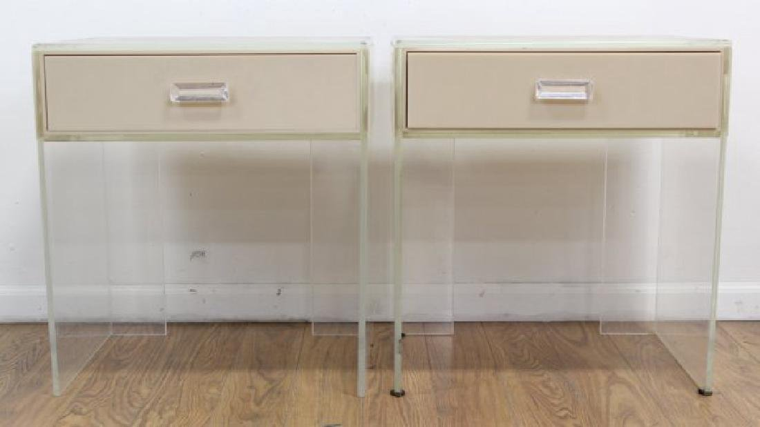 Pair 1970s Cream & Clear Lucite Side Tables