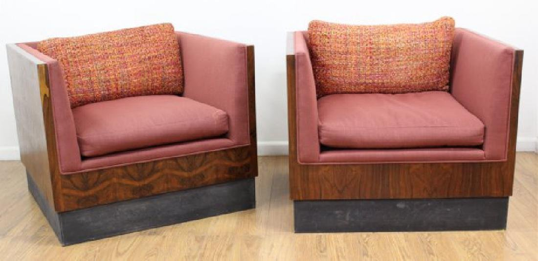 Pair Milo Baughman Rosewood Club Chairs