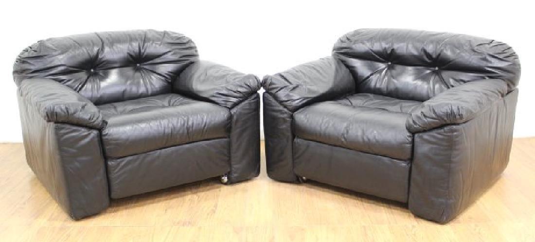 Pair Sormani Leather Black Club Chairs