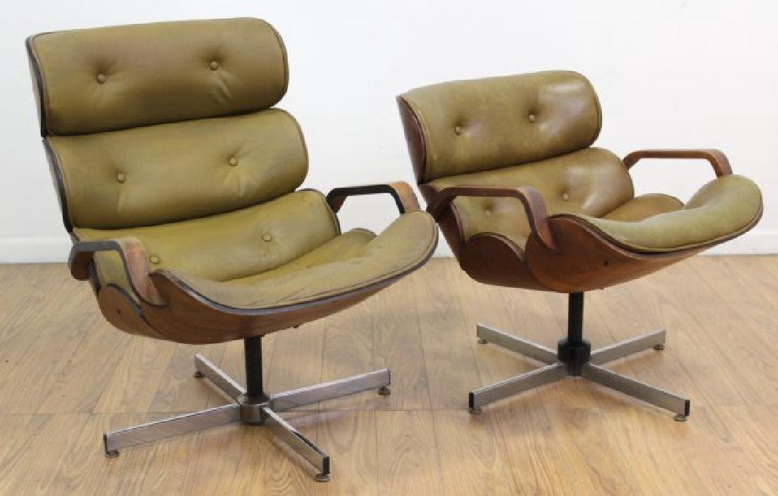 2 Mid-Century Bentwood Swiveling Office Chairs