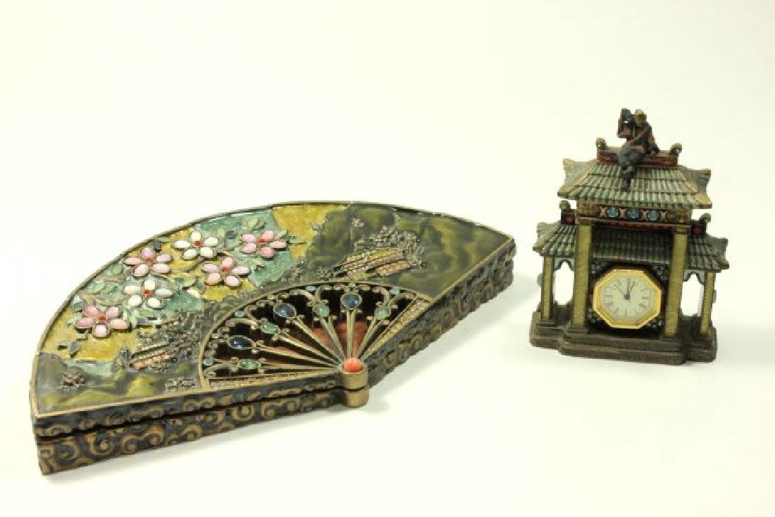 Jay Strongwater Asian Style Fan Box & Pagoda Clock
