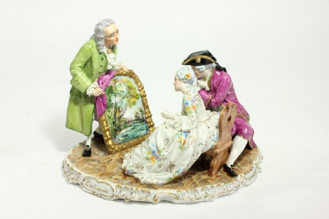 5 Dresden Style Porcelain Figures with Grouping - 2