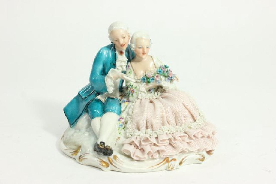 5 Dresden Style Porcelain Figures with Grouping - 7