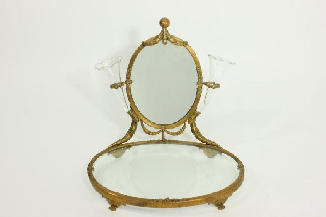 Brass Vanity Tray with Mirror
