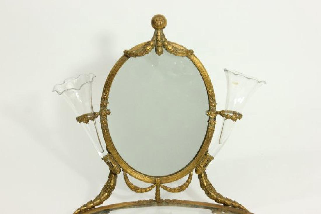 Brass Vanity Tray with Mirror - 2
