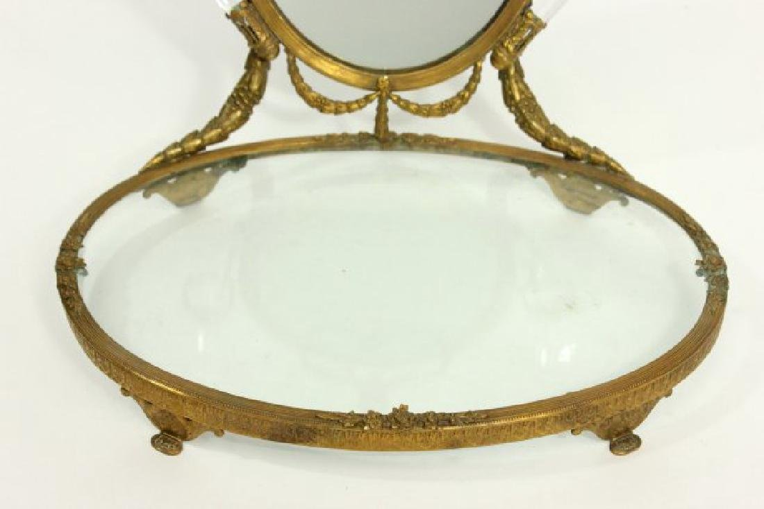 Brass Vanity Tray with Mirror - 3