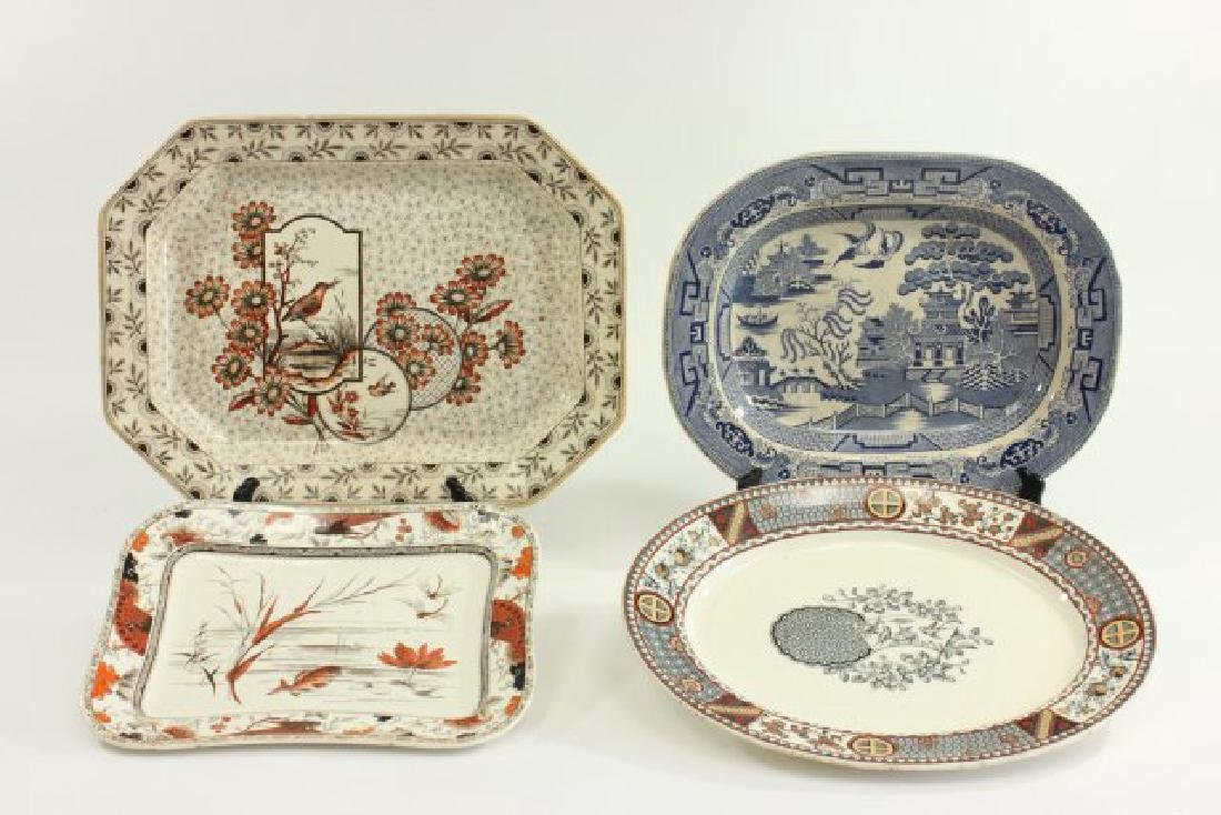 4 English Platters, Including Blue Willow Platter