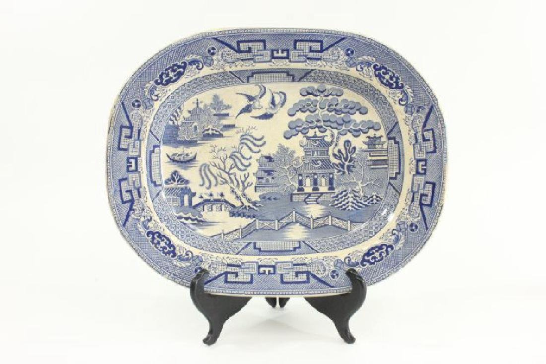 4 English Platters, Including Blue Willow Platter - 3