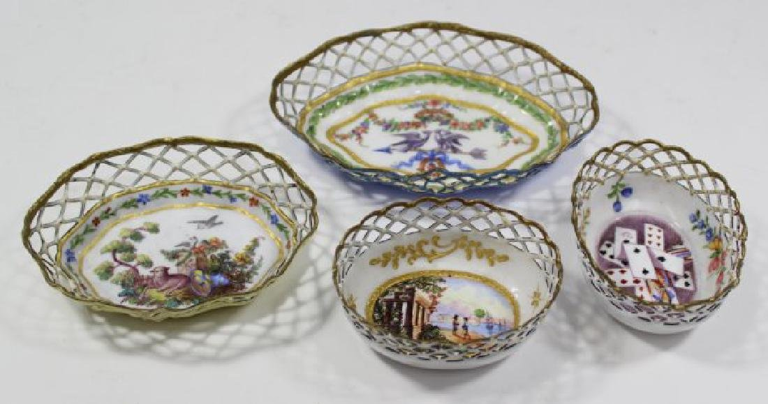4 Enamel Open Reticulated Small Bowls/Dishes