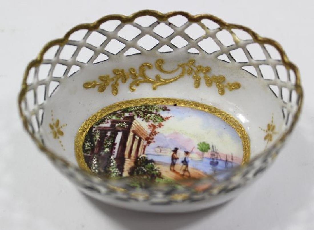 4 Enamel Open Reticulated Small Bowls/Dishes - 8