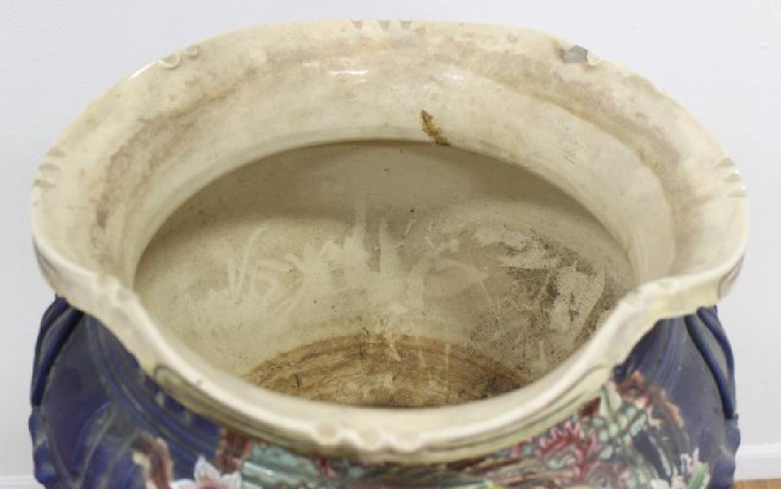 :Japanese Pottery Jardiniere & Pedestal - 3