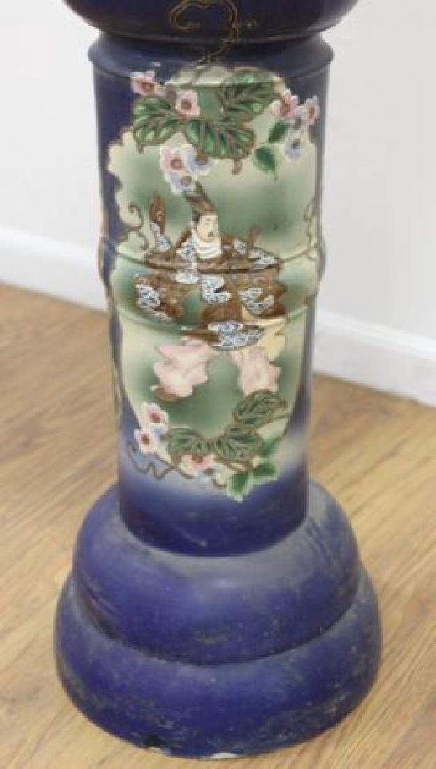 :Japanese Pottery Jardiniere & Pedestal - 4