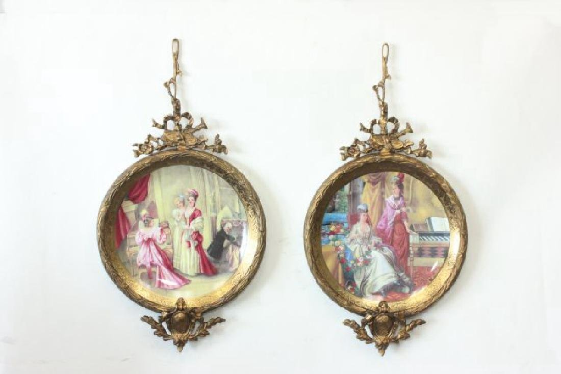 Pair Sèvres Style Plates in Bronze Frames