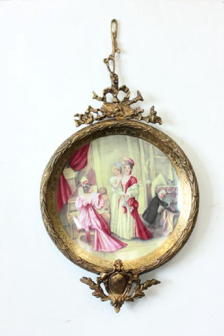 Pair Sèvres Style Plates in Bronze Frames - 2