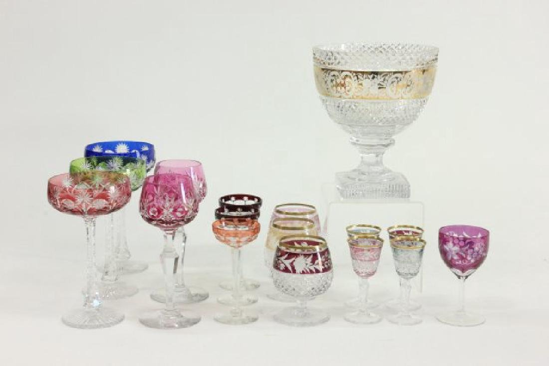 Lot of 17 Bohemian Cut to Clear Glasses