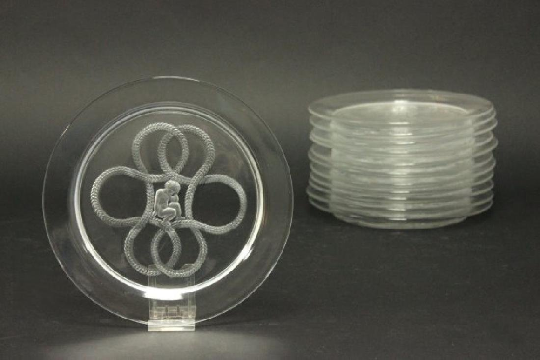 Set of 12 Lalique Olympe Cherub Love Knot Plates