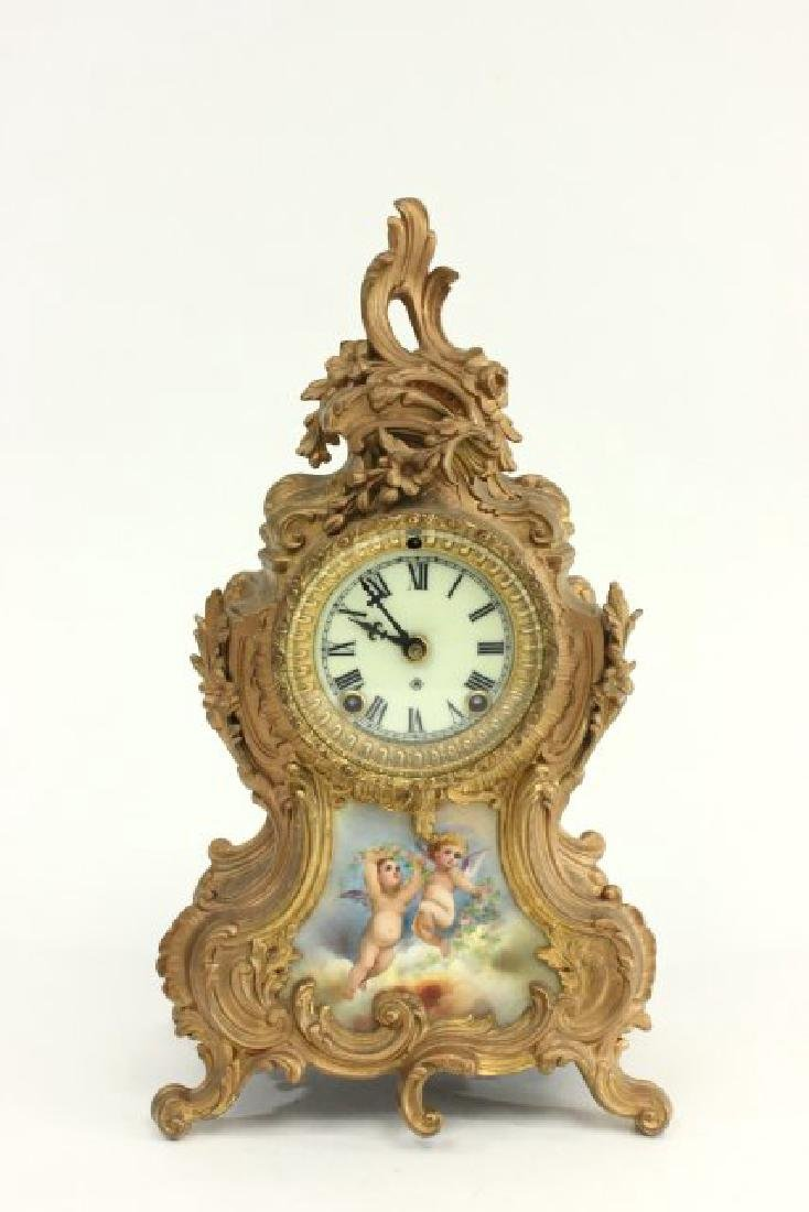 Gilt Metal Ansonia Mantel Clock