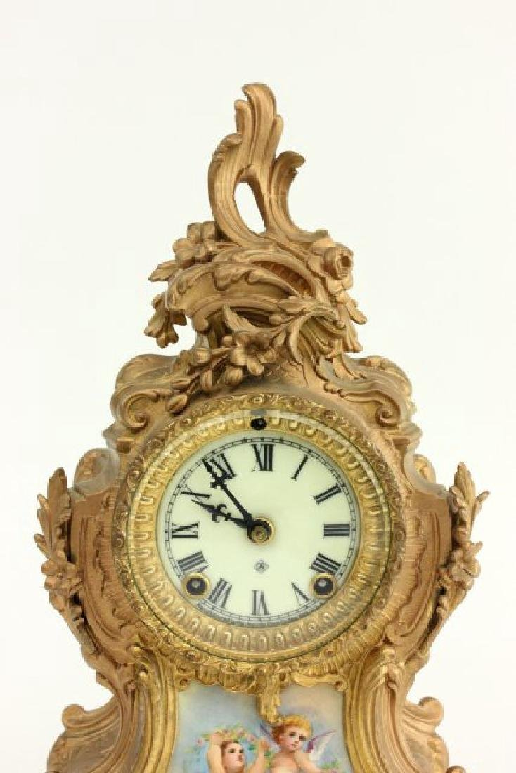 Gilt Metal Ansonia Mantel Clock - 2