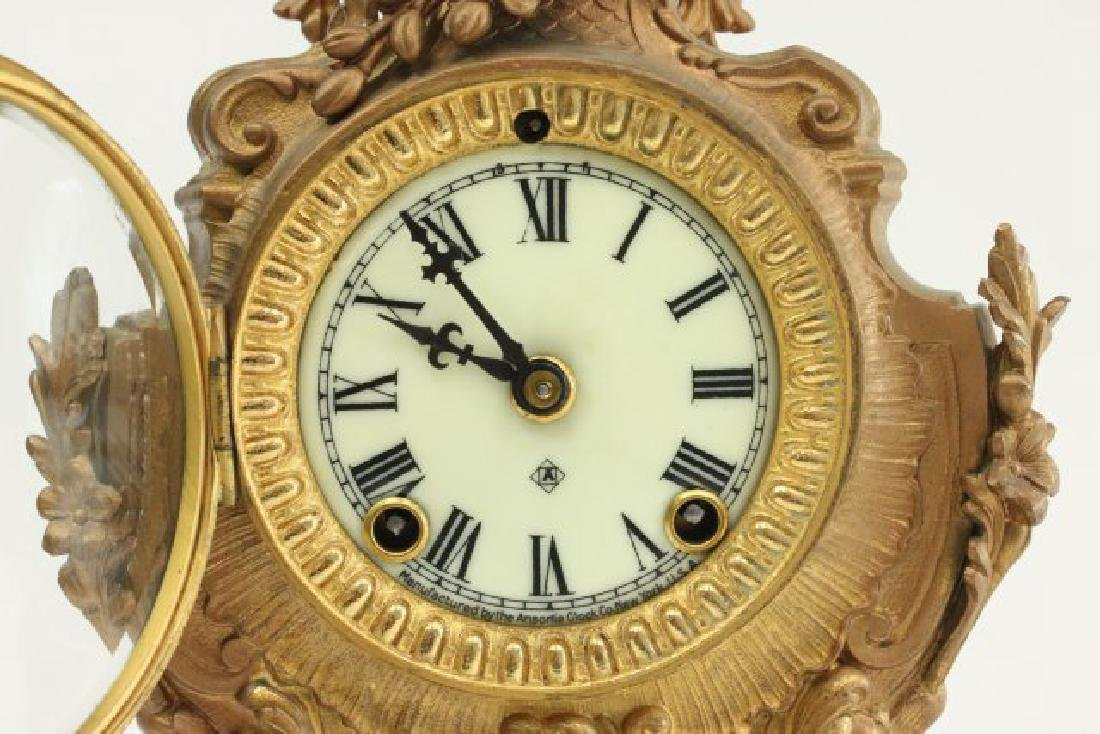 Gilt Metal Ansonia Mantel Clock - 4