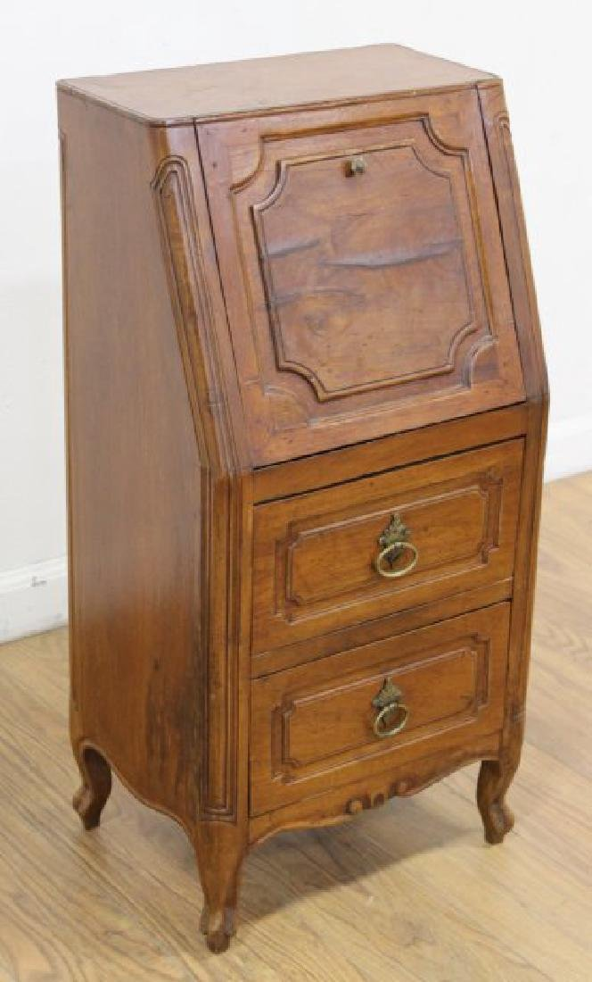 French Provincial Walnut Secretaire Abatant - 2