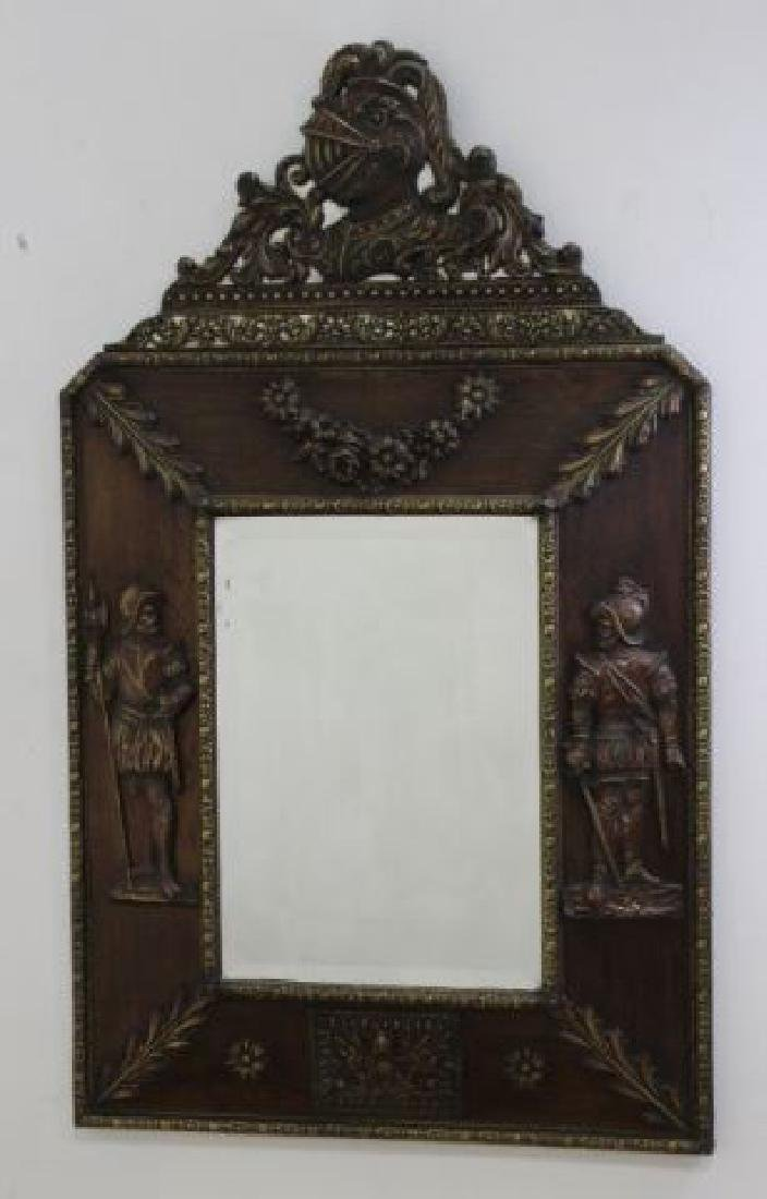 :Brass-Clad Mirror with Military Motif