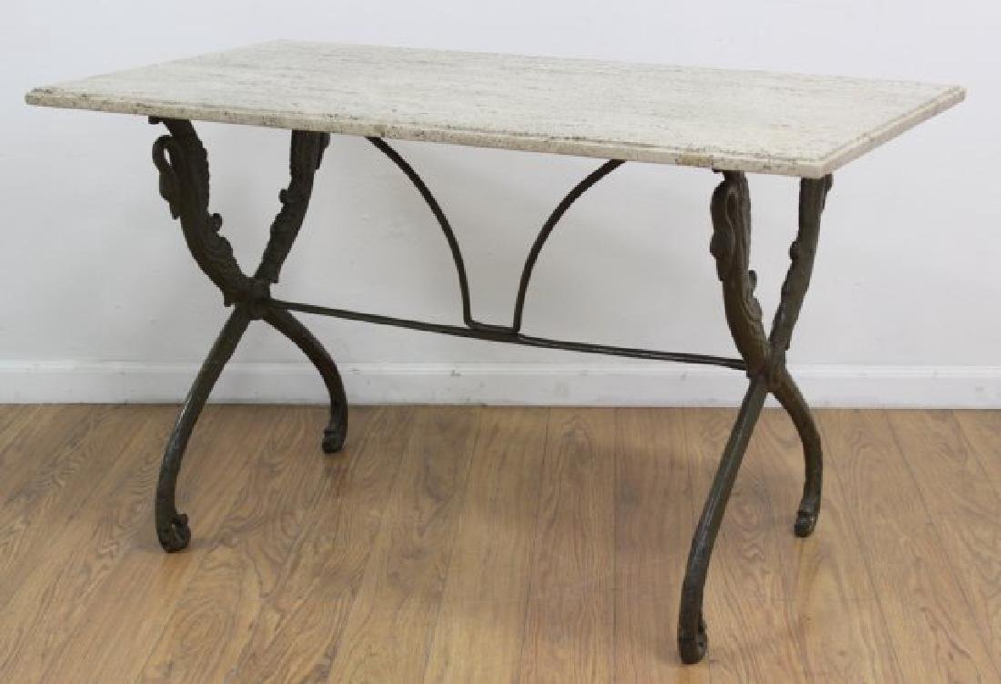 Travertine Top Table with Swan Metal Legs