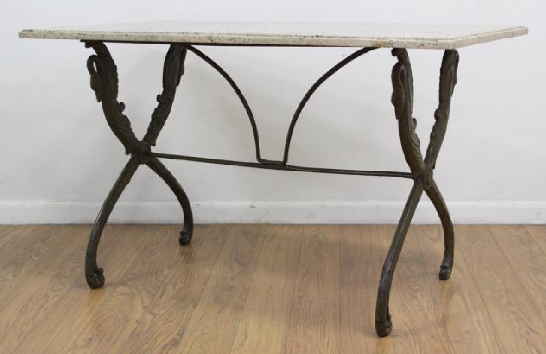 Travertine Top Table with Swan Metal Legs - 2