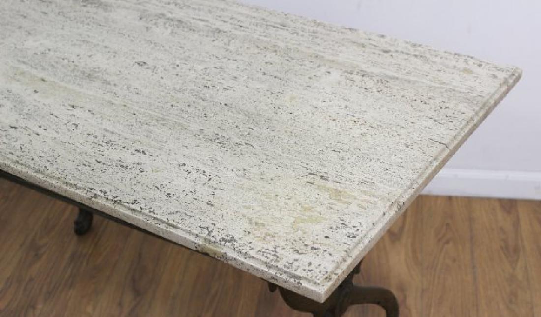 Travertine Top Table with Swan Metal Legs - 3