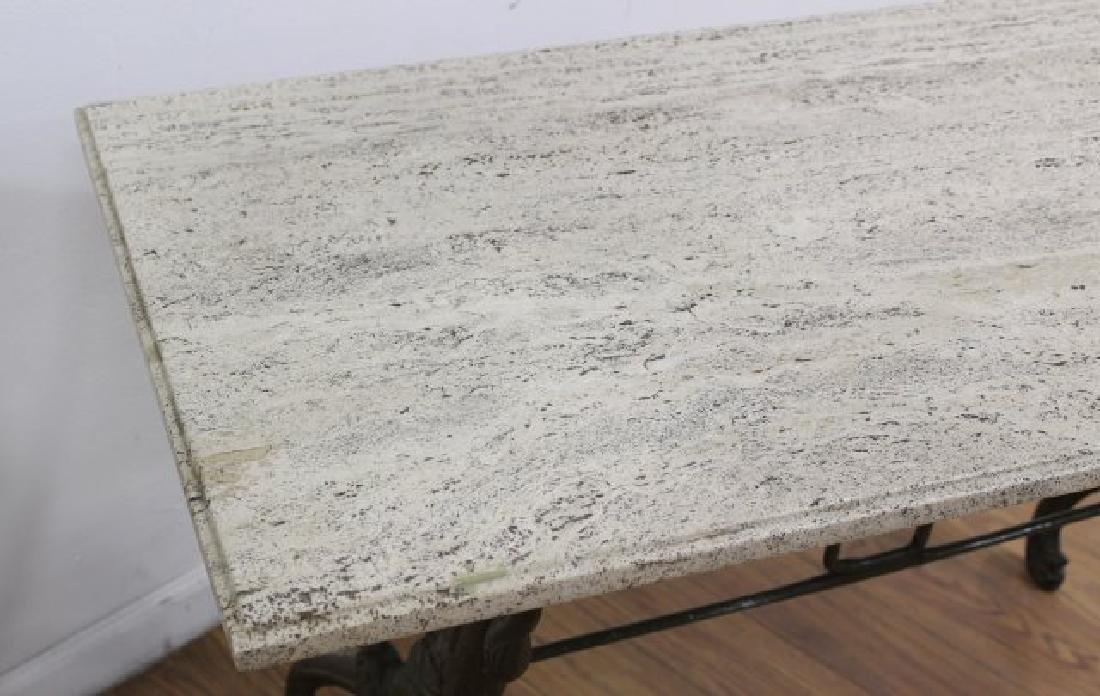 Travertine Top Table with Swan Metal Legs - 4