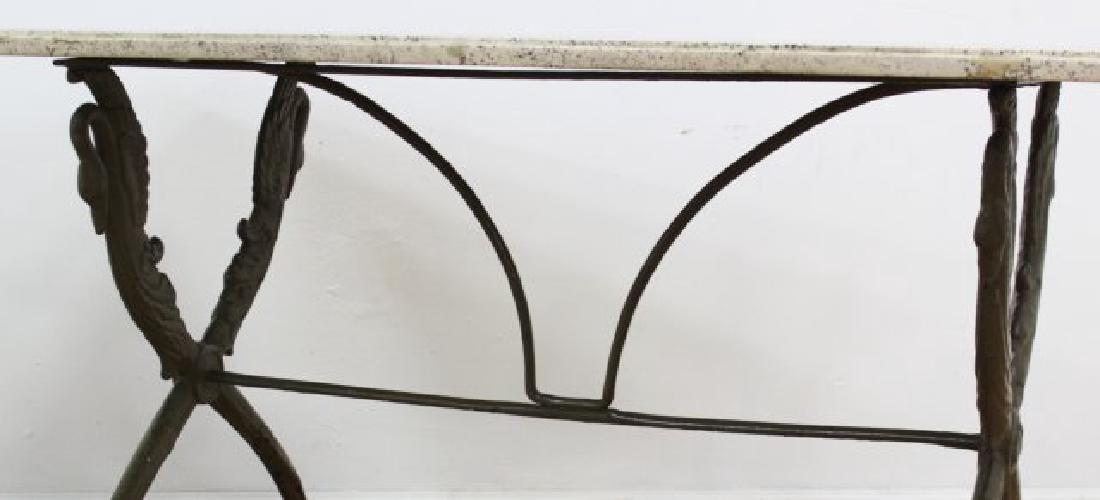 Travertine Top Table with Swan Metal Legs - 6