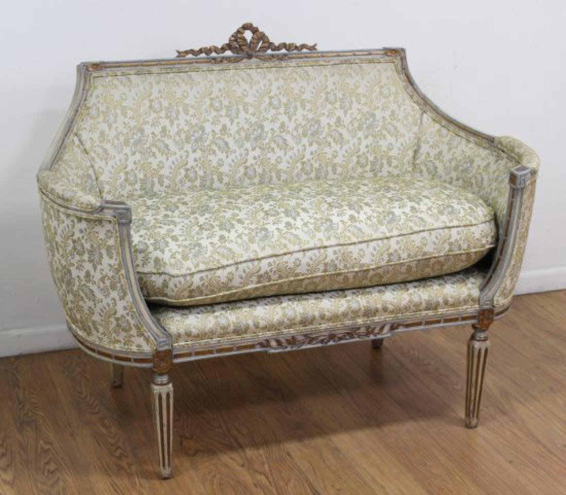 French Style Carved Walnut Loveseat