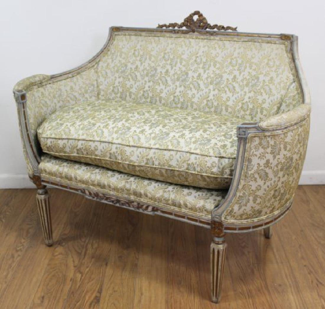 French Style Carved Walnut Loveseat - 2