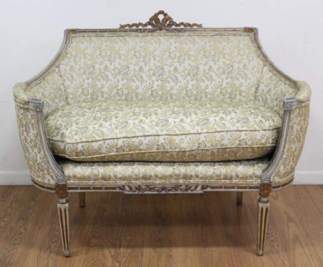 French Style Carved Walnut Loveseat - 3
