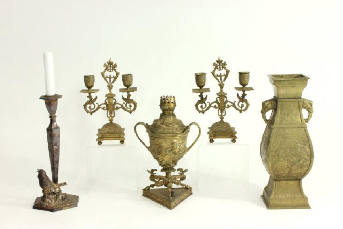 Victorian Brass Oil Lamp, Pair Candlesticks & More