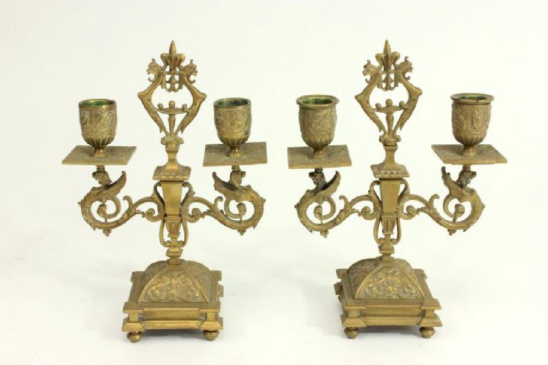 Victorian Brass Oil Lamp, Pair Candlesticks & More - 5