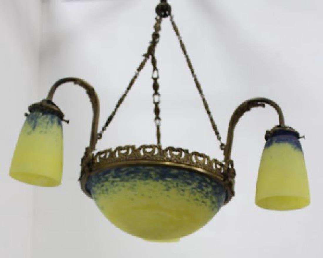 French Art Deco Degue Style 3-Light Chandelier