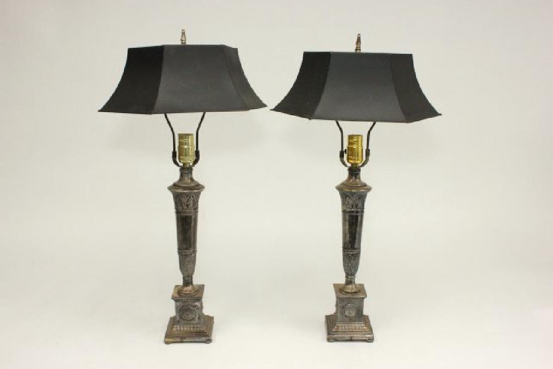 Pair Neoclassic Style Silvered Metal Lamps