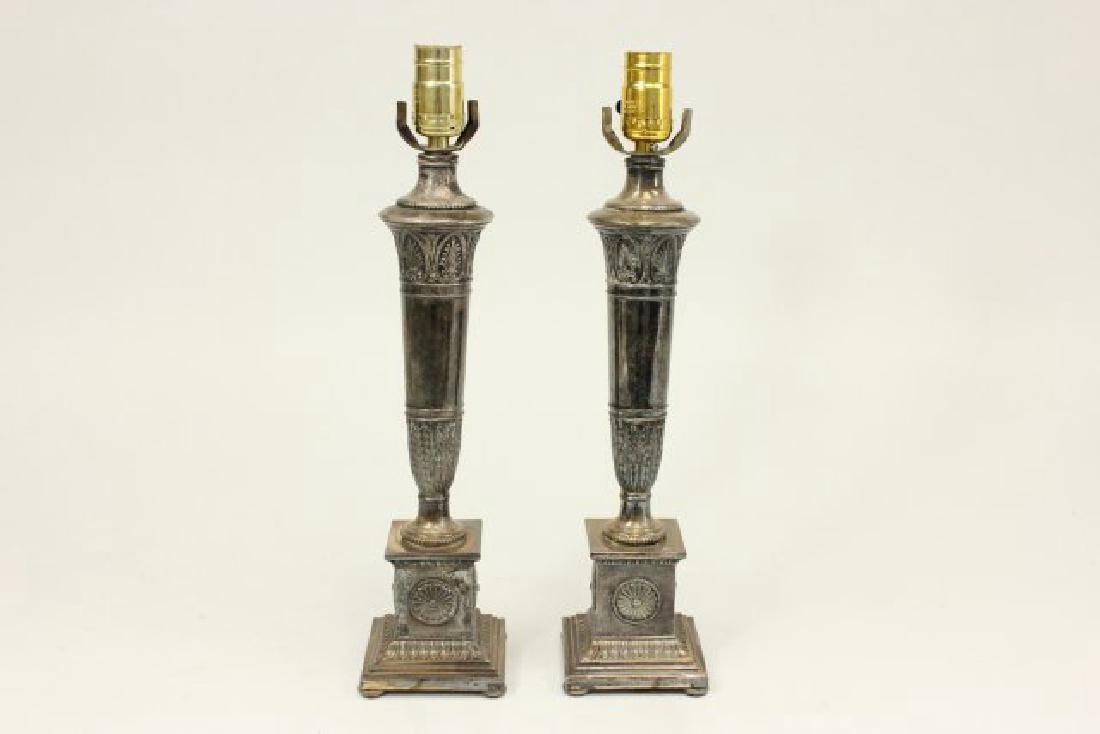 Pair Neoclassic Style Silvered Metal Lamps - 2