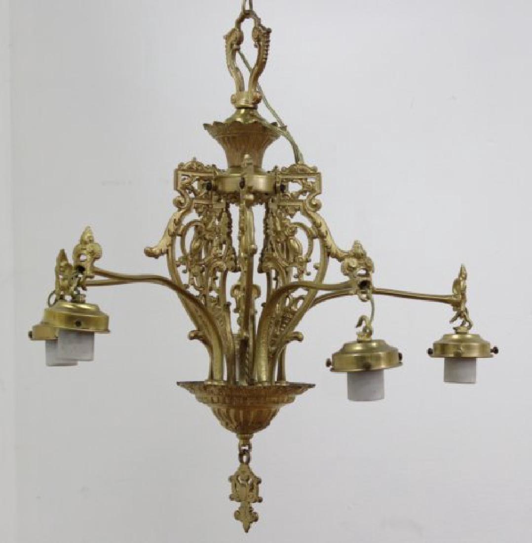 Gothic Style Gilt Brass 5-Arm Chandelier